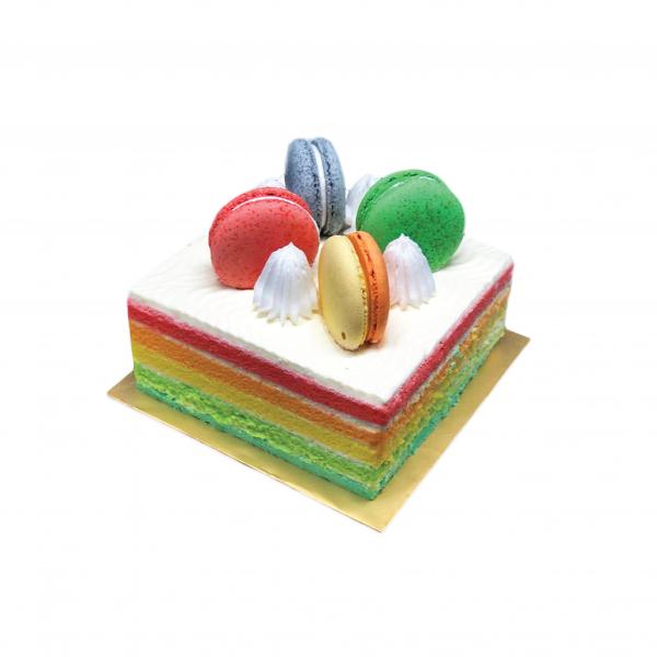Rainbow Cake with 4 macaron 650gm