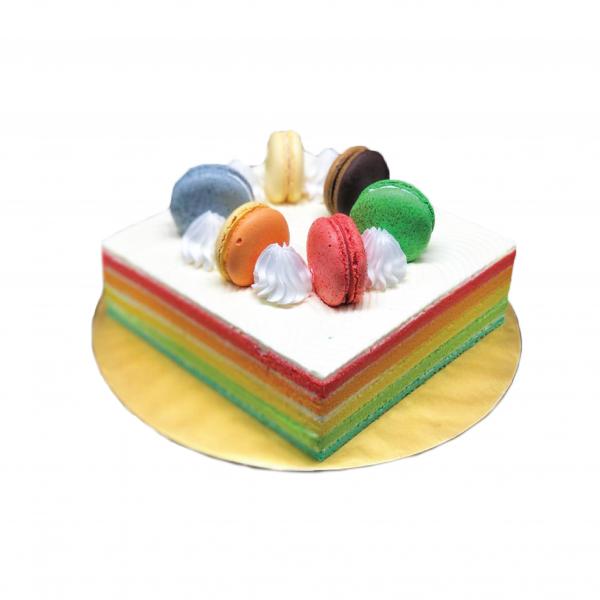 Rainbow Cake with 6 macaron 1400gm