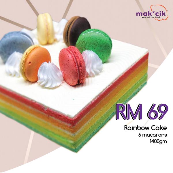 Rainbow Cake with 6 macarons